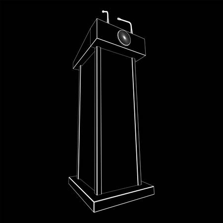 Speaker Podium. White Tribune Rostrum Stand with Microphones. Debate, press conference concept. Wireframe low poly mesh vector illustration Banque d'images - 137892437