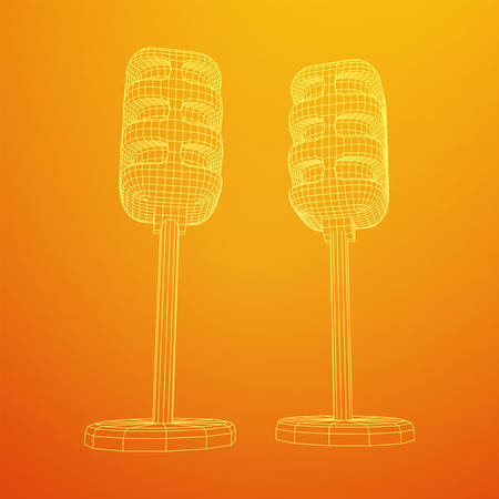 Sound recording equipment vintage microphone. Wireframe low poly mesh vector illustration 向量圖像