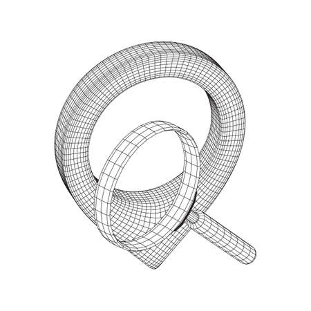 Location pin geo mark icon for travel with magnifying glass. Search path navigator concept. Wireframe low poly mesh vector illustration