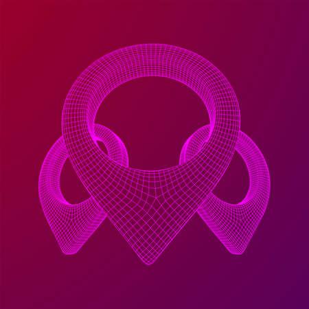 Geo map pin mesh. Place symbol GPS pictogram. Wireframe low poly mesh 3d render illustration