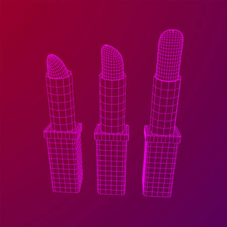 Lipstick makeup concept. Wireframe low poly mesh vector illustration Banque d'images - 137973699