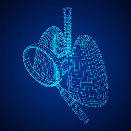 Lungs with trachea bronchi internal organ human with magnifying glass. Pulmonology medicine science analysis concept. Wireframe low poly mesh vector illustration Banque d'images - 137969574