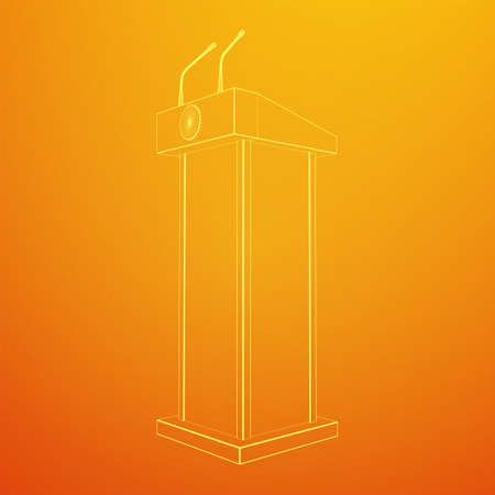 Speaker Podium. White Tribune Rostrum Stand with Microphones. Debate, press conference concept. Wireframe low poly mesh vector illustration Banque d'images - 137970609