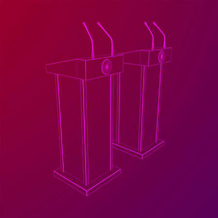 Speaker Podium. White Tribune Rostrum Stand with Microphones. Debate, press conference concept. Wireframe low poly mesh vector illustration Banque d'images - 137970676