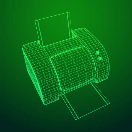 Printer or fax object. Wireframe low poly mesh vector illustration Banque d'images - 138001442