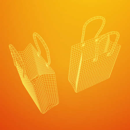 Empty shopping sale bag. Wireframe low poly mesh vector illustration Banque d'images - 138001452