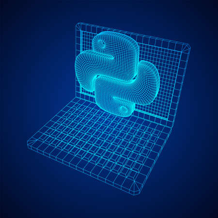 Python code language sign with notebook laptop device. Programming coding and developing concept. Wireframe low poly mesh vector illustration Banque d'images - 137970970