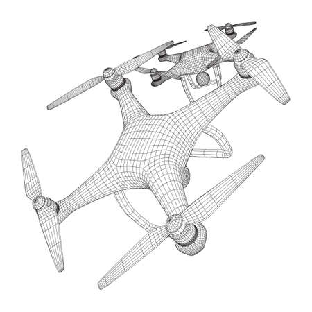 Remote control air drone. Dron flying with action video camera. Wireframe low poly mesh vector illustration Banque d'images - 137971540