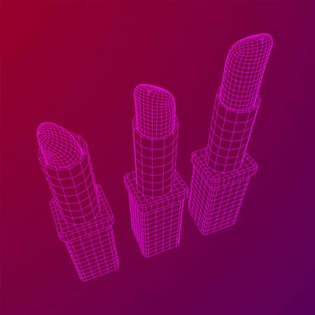 Lipstick makeup concept. Wireframe low poly mesh vector illustration Banque d'images - 138115968