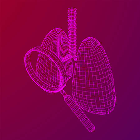 Lungs with trachea bronchi internal organ human with magnifying glass. Pulmonology medicine science analysis concept. Wireframe low poly mesh vector illustration Banque d'images - 138115969