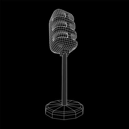 Sound recording equipment vintage microphone. Wireframe low poly mesh vector illustration Banque d'images - 138114488