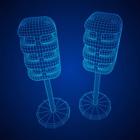 Sound recording equipment vintage microphone. Wireframe low poly mesh vector illustration Banque d'images - 138115970