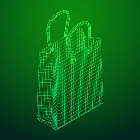 Empty shopping sale bag. Wireframe low poly mesh vector illustration Banque d'images - 138115973