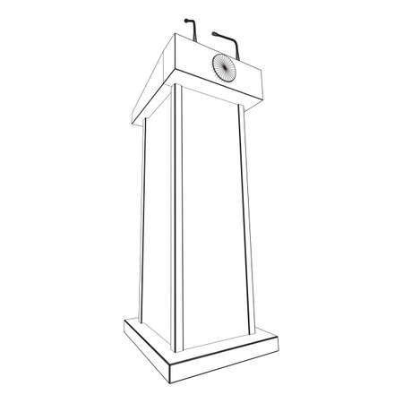 Speaker Podium. White Tribune Rostrum Stand with Microphones. Debate, press conference concept. Wireframe low poly mesh vector illustration Banque d'images - 138114888