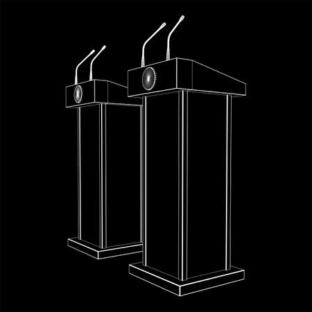 Speaker Podium. White Tribune Rostrum Stand with Microphones. Debate, press conference concept. Wireframe low poly mesh vector illustration