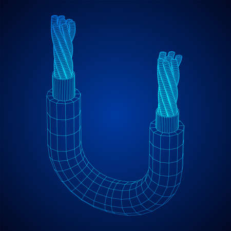 Electrical cable cleared wire. Wireframe low poly mesh vector illustration