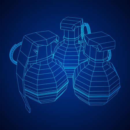 Hand bomb frag grenade wireframe low poly mesh vector illustration Banque d'images - 138115978