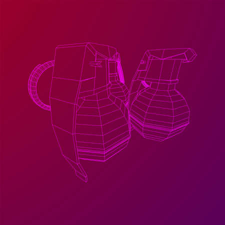 Hand bomb frag grenade wireframe low poly mesh vector illustration Banque d'images - 138115979