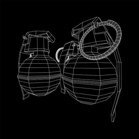 Hand bomb frag grenade wireframe low poly mesh vector illustration Banque d'images - 138115980