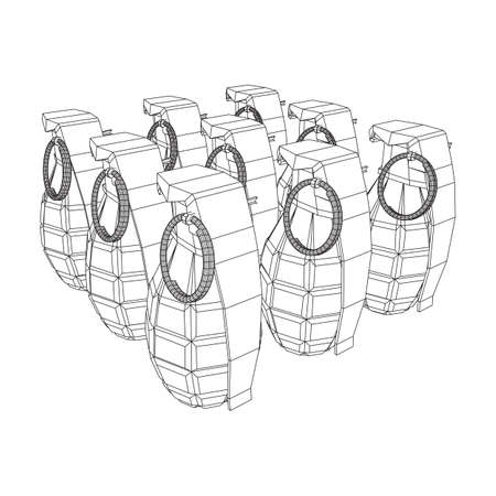 Hand bomb frag grenade wireframe low poly mesh vector illustration Banque d'images - 138115984