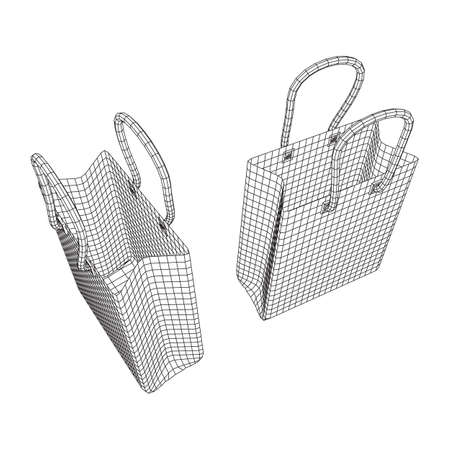 Empty shopping sale bag. Wireframe low poly mesh vector illustration Stock Photo