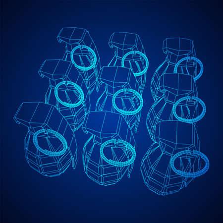 Hand bomb frag grenade wireframe low poly mesh vector illustration