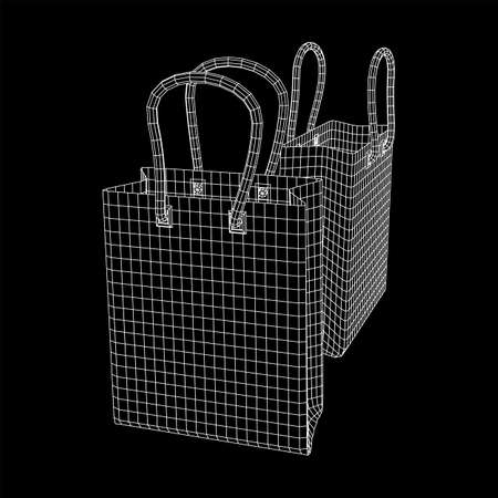Empty shopping sale bag. Wireframe low poly mesh vector illustration Illustration