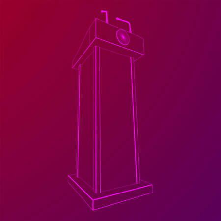 Speaker Podium. White Tribune Rostrum Stand with Microphones. Debate, press conference concept. Wireframe low poly mesh vector illustration Çizim