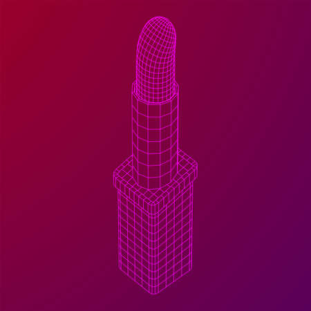 Lipstick makeup concept. Wireframe low poly mesh vector illustration Illustration