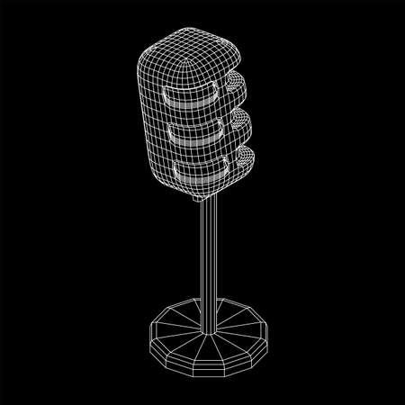 Sound recording equipment vintage microphone. Wireframe low poly mesh vector illustration Ilustração