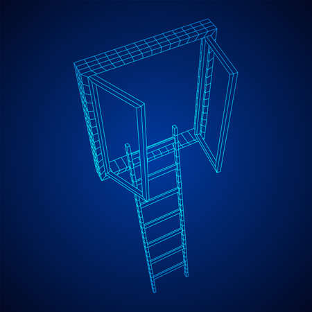 Ladder with open window. Business concept in opportunity. Wireframe low poly mesh vector illustration. 일러스트