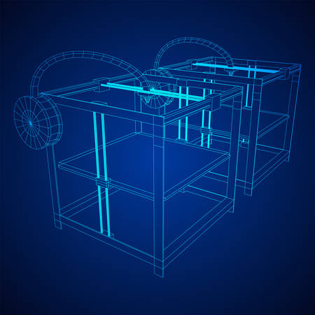 3D Printer Wireframe low poly mesh vector illustration