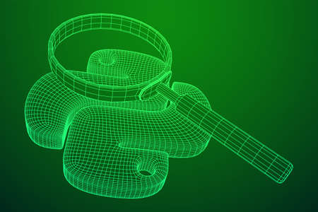 Python code language sign with magnifying glass. Programming coding and developing concept. Wireframe low poly mesh vector illustration