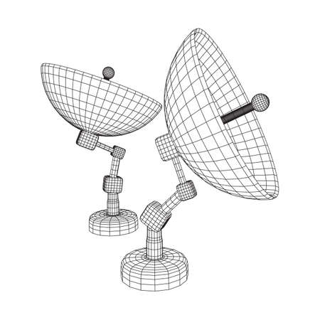 Directional radio antenna with satellite dish. Astronomy radio telescope. Wireframe low poly mesh vector illustration Vettoriali