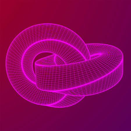 Mobius strip ring knot sacred geometry. Spatial figure with upturned surfaces. Optical illusion with dual circular contour. Wireframe low poly mesh vector illustration.