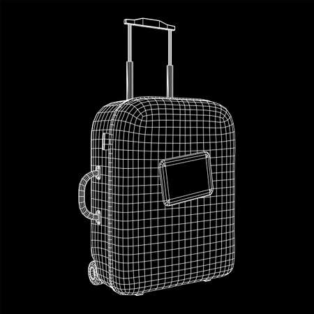 Suitcase tourist travel bag. Vacation luggage travelling trip concept. Wireframe low poly mesh vector illustration. Reklamní fotografie - 139852040
