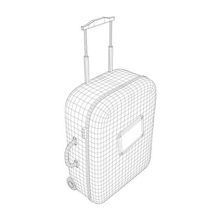 Suitcase tourist travel bag. Vacation luggage travelling trip concept. Wireframe low poly mesh vector illustration. Reklamní fotografie - 139949187