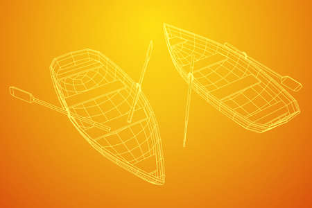Rowing boat with paddles. Wireframe low poly mesh vector illustration