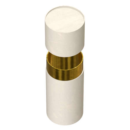Kraft paper cardboard tube package with gold part mock up. 3d render isolated on white background.