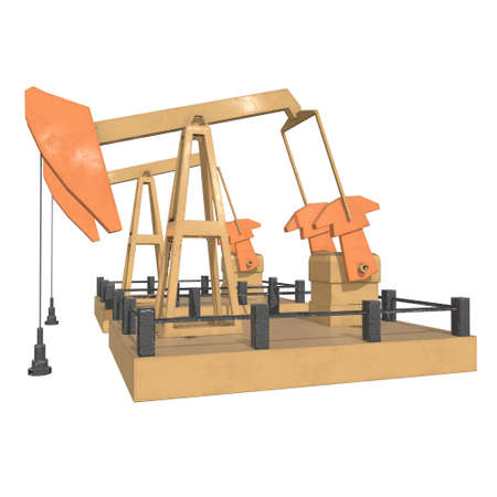 Oil well rig jack. Finance economy polygonal petrol production. Petroleum fuel industry pumpjack derricks pumping drilling. 3d render illustration isolated on white background. Zdjęcie Seryjne
