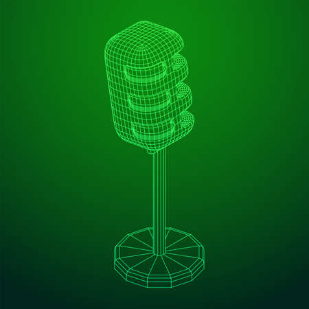 Sound recording equipment vintage microphone. Wireframe low poly mesh vector illustration Ilustrace