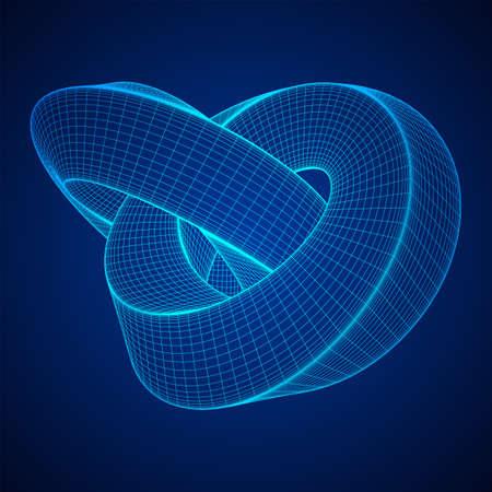 Mobius bande bague noeud géométrie sacrée. Figure spatiale avec des surfaces renversées. Illusion d'optique avec double contour circulaire. Illustration vectorielle filaire low poly mesh.