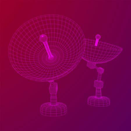 Directional radio antenna with satellite dish. Astronomy radio telescope. Wireframe low poly mesh vector illustration Illustration