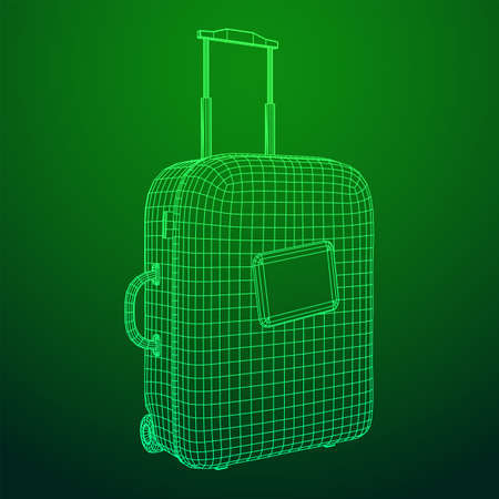 Suitcase tourist travel bag. Vacation luggage travelling trip concept. Wireframe low poly mesh vector illustration. Ilustracja