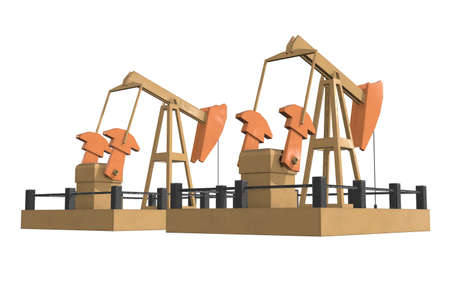 Oil well rig jack. Finance economy polygonal petrol production. Petroleum fuel industry pumpjack derricks pumping drilling. 3d render illustration isolated on white background. Stockfoto