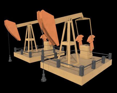 Oil well rig jack. Finance economy polygonal petrol production. Petroleum fuel industry pumpjack derricks pumping drilling. 3d render illustration on black background.