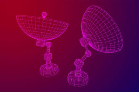 Directional radio antenna with satellite dish. Astronomy radio telescope. Wireframe low poly mesh vector illustration Ilustrace