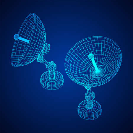 Directional radio antenna with satellite dish. Astronomy radio telescope. Wireframe low poly mesh vector illustration Reklamní fotografie - 140636484