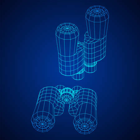 Abstract image of a binoculars. Searching or business vision concept. Wireframe low poly mesh vector illustration