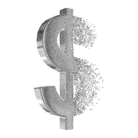 Fractured Gold Dollar value with disappearing effect. Financial crisis concept. Dotwork Halftone Style Monochrome Gradient Vector Illustration. Ilustrace